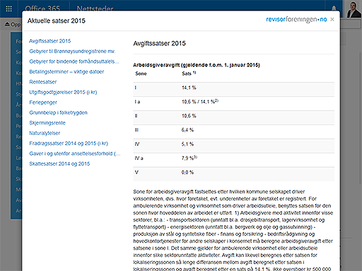 "Bilde 3: Updated ""Aktuelle satser"" from Revisorforeningen. You have easy access to the current and last year's rates."